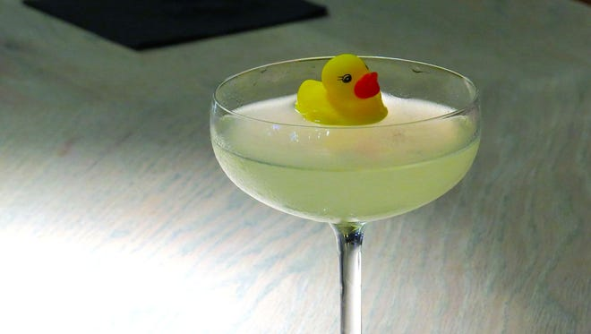At Bottlest Winery, Bar & Bistro in Buellton, the Lew's Gimlet is served with a miniature rubber-ducky garnish.