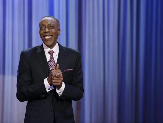 Arsenio Hall during his opening monologue for the premiere show.