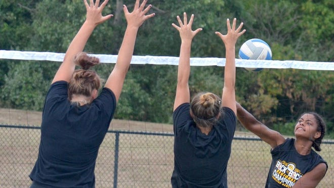 Hamilton volleyball players practice outdoors last week.