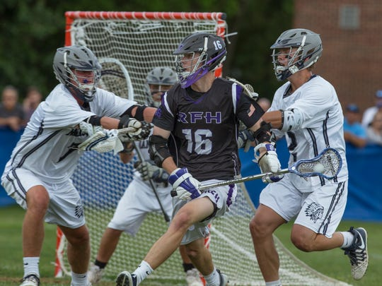 Rumson's Charlie Curran works in towards goal during Rumson-Fair Haven Boys Lacrosse edges out Manasquan for South Group 2 Sectional Title in Manasquan NJ on May 27, 2017.