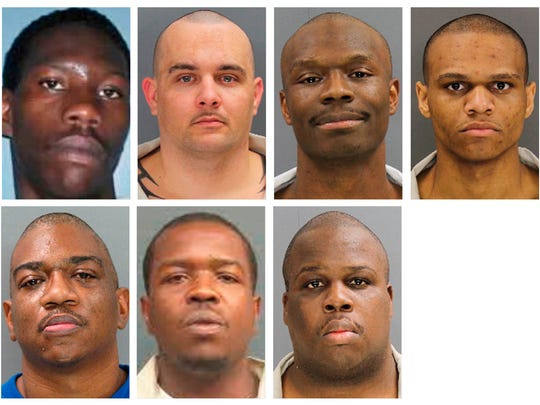 These undated photos provided by the South Carolina Department of Corrections shows, from top row from left, Corey Scott, Eddie Casey Gaskins, Raymond Angelo Scott and Damonte Rivera; bottom row from left, Michael Milledge, Cornelius McClary and Joshua Jenkins. The seven inmates were killed, and at least 17 prisoners wounded, in a riot at the Lee Correctional Institution on early Monday, April 16, 2018, in Bishopville, S.C.