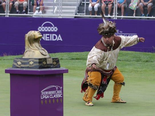 An Oneida Nation member performs a ceremonial dance