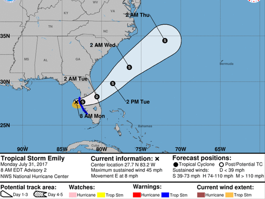 A graphic from the National Hurricane Center shows