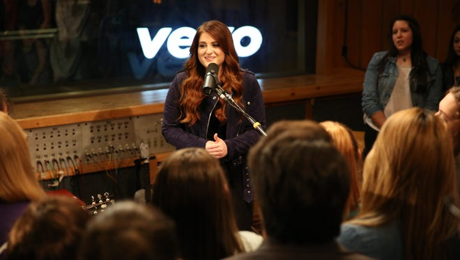 Meghan Trainor performs a Vevo Presents acoustic set for fans at New York's Avatar Studios May 9.