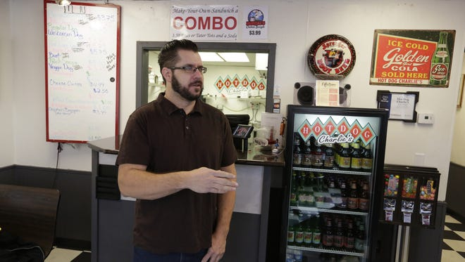 Jef Vondrachek talks about making his Hunzal's Chicken Booyah at Hot Dog Charlie's in Oshkosh.