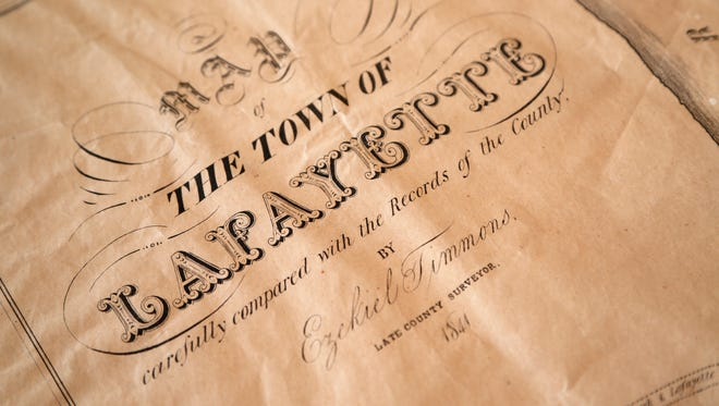 Detail of the first map printed of Lafayette Monday, March 19, 2018, at Art of Framing, 2505 S. Earl Avenue in Lafayette. The map was printed in 1841 by C. Bartlett's Lithography in New York City.