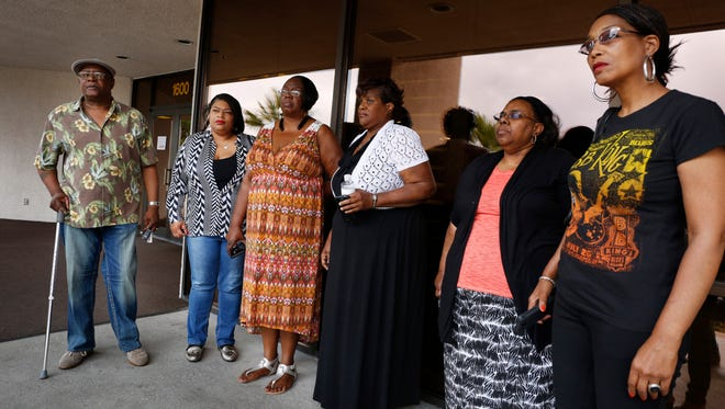 Willie King, from left, Tanya Deckard, Patty King, Karen Williams, Barbara King Winfree and Rita Washington stand outside of a funeral home after a private family viewing of blues musician B.B. King Thursday, May 21, 2015, in Las Vegas. The family members attended a private viewing ahead of a public viewing scheduled for Friday. King died May 14 in Las Vegas at age 89.