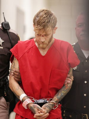 Jason Brown heads to court Wednesday, Aug. 9, 2017, about two weeks after he was accused of shooting and killing Southport police Lt. Aaron Allan.