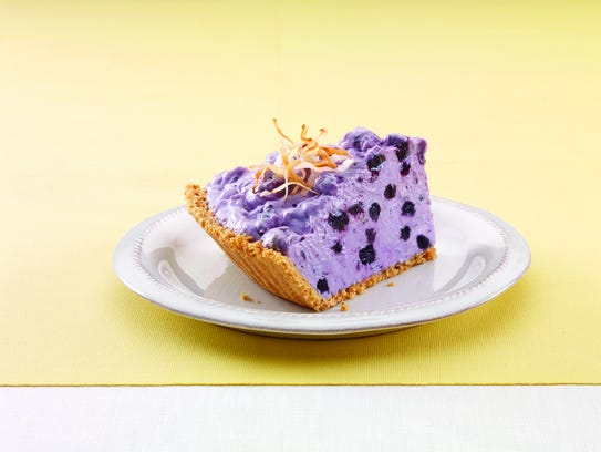 Fluffy Blueberry Cream Pie with Toasted Coconut