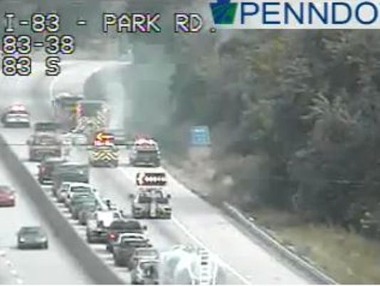 Crews responded Tuesday afternoon to a vehicle fire on Interstate 83 southbound.