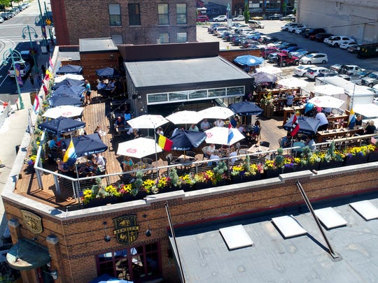 The rooftop patio at Cafe Benelux in Milwaukee's Third Ward is a popular spot for brunch in the summer.