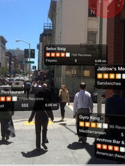 A screenshot of the Yelp app using augmented reality.