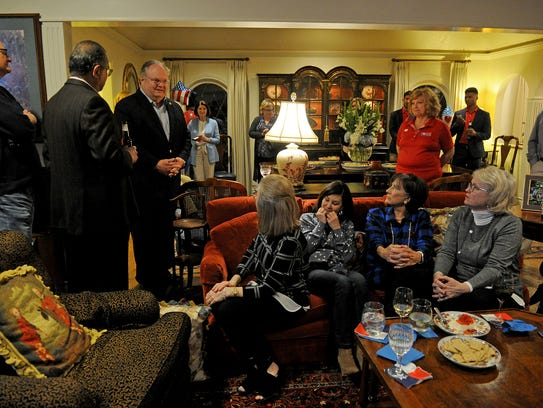 Sen. Craig Estes, R-Wichita Falls, talks to his friends