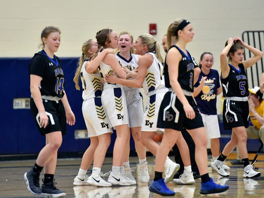Eastern York players greet Mara Weaver, left of center, after she sank a buzzer-beating three-pointer to tie a YAIAA girls' basketball game Friday, Jan. 26, 2018, at Eastern York. Kennard-Dale defeated Eastern York 53-42 in double overtime.