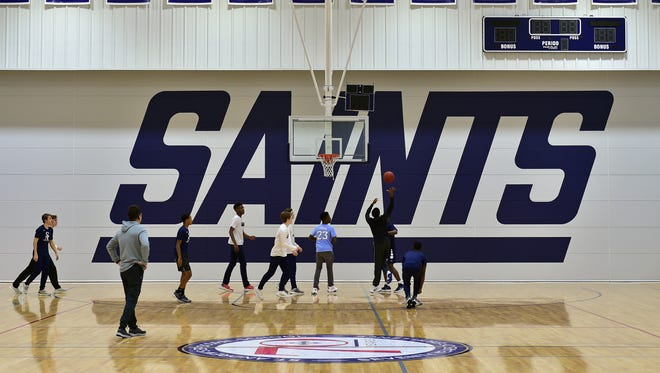 St. Andrews basketball players test out their new multimillion dollar basketball facility Tuesday, Jan. 9, 2018.