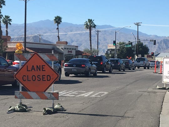 Traffic backs up on Highway 111 in Indio during a road widening project. Desert Sun file photo.