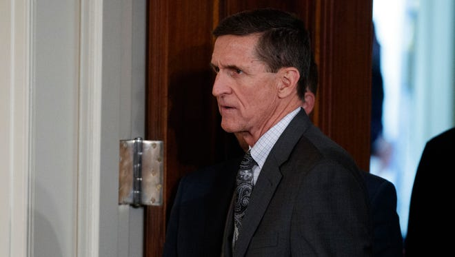 In this Feb. 13, 2017 file photo, Mike Flynn arrives for a news conference in the East Room of the White House in Washington.