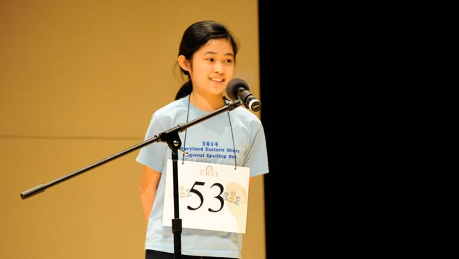 This March 2014 photo is of Gia Bautista, who won a regional spelling bee and advanced to the Scripps National Spelling Bee last May. She's competing in Saturday's 2015 regional event at the University of Maryland Eastern Shore in Princess Anne.