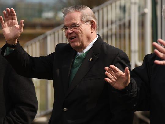 Senator Bob Menedez marches in the St. Patrick's Day