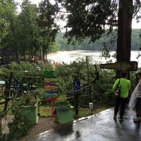 Downed trees blocking the entrance to Frank E. Murphy Park south of Egg Harbor.