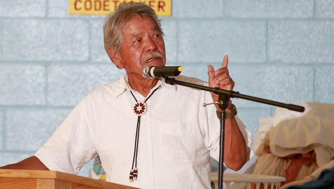 Herbert Benally of the Center for Diné Studies at Diné College speaks during the Food Sovereignty and Traditional Knowledge Gathering for Climate Change Resiliency on Friday at the Shiprock Chapter house.