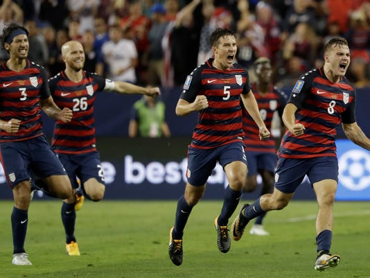 United States' Jordan Morris (8) celebrates with teammates after scoring a goal against Jamaica during the second half of the Gold Cup final soccer match in Santa Clara, Calif., Wednesday, July 26, 2017. (AP Photo/Marcio Jose Sanchez)