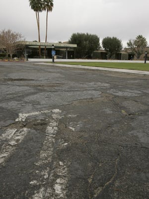 The parking lot in front of Palm Springs City Hall seen on Wednesday, February 15, 2012. The city will begin a repaving project for the lot in early next year.