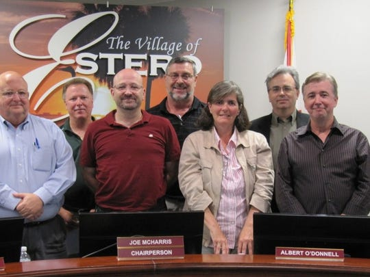 This file photo from the Estero village website shows a former group of Design Review Board members. From left to right: William Glass, Barry Jones, Joe McHarris, Al O'Donnell, Patty Whitehead, Scott Anderson and Bill Prysi. Absent is Anu Lacis.