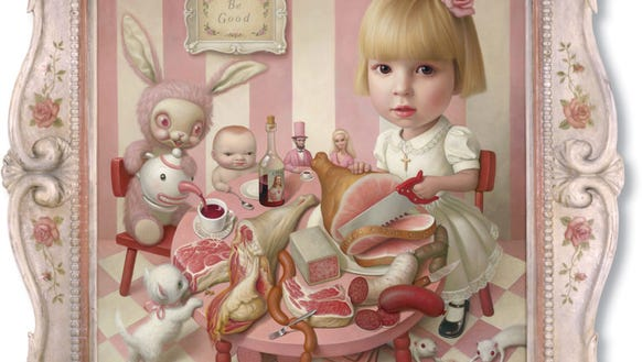 "Mark Ryden, ""Rosie's Tea Party,"" 2005, oil on canvas,"
