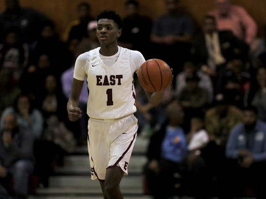 January 26, 2018 - East High School's Jonathan Lawson (1) drives down the court during a game against Whitehaven in the first half at East High School on Friday night.