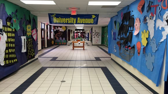 Halloween decorations line the hallway toward upperclassmen classrooms at San Elizario High School on Oct. 29.