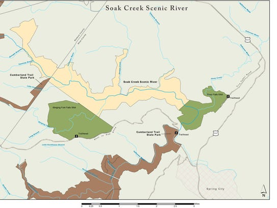 Map showing where Soak Creek Section fits into Cumberland