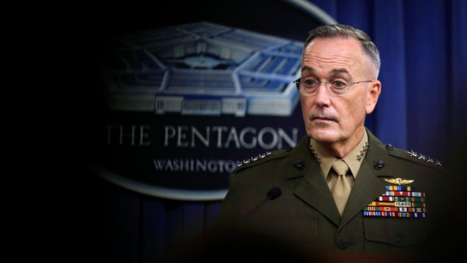 Joint Chiefs Chairman Gen. Joseph Dunford, speaks to reporters about the Niger operation during a briefing at the Pentagon, Monday, Oct. 23, 2017.