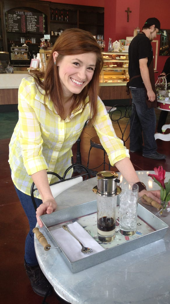 Indulge manager Rachael Judice with a tray of Vietnamese-style