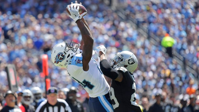 Titans wide receiver Corey Davis returned in Week 9 from a hamstring injury and caught two passes for 28 yards vs. the Raiders.