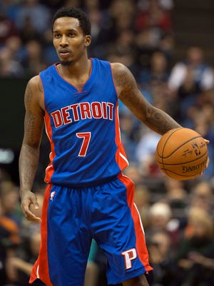 Detroit Pistons guard Brandon Jennings dribbles down the court in the first half against the Minnesota Timberwolves at the Target Center.
