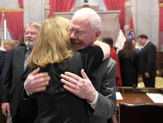 Tennessee Representative Charles Sargent hugs Speaker