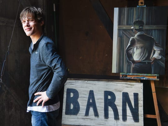 Artist Jordan Weisenauer  poses for a portrait in a barn next to the West of Knoll Gallery and Studio in Triune, Tenn., Monday, Sept. 4, 2017.