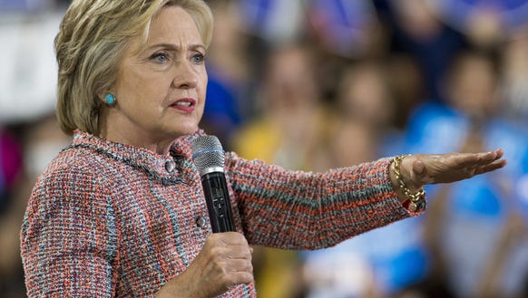 Hillary Clinton speaks during a campaign rally in Annandale,