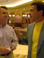 -  -05/10/04 --- Nick Saban and David Toms talk in the lobby of the casino before going in to an LSU fundraising dinner at the Horseshoe Casino and Hotel in Bossier City, La. -  -Times Photo/Shane Bevel-  -Section 1C