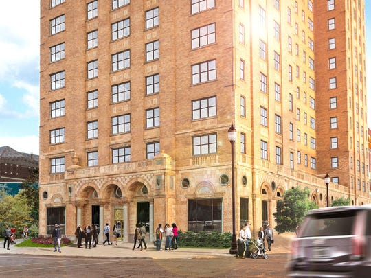 Rendering of a proposed redevelopment that would turn the empty Lee Plaza in Detroit into upscale apartments.