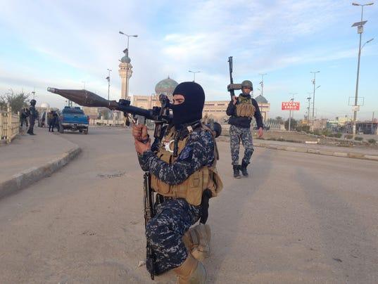 Iraqi Security forces patrol Ramadi