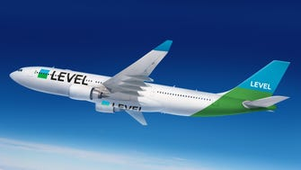 This image, provided by the International Airlines Group (IAG), shows the paint scheme planned for the company's start-up budget airline: Level.