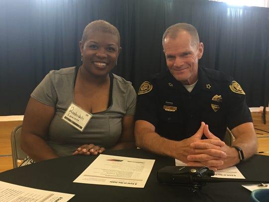 Rashidah Leverett, left, with Clarksville Police Chief