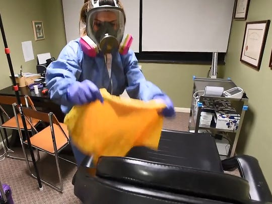 A disinfection job in progress at J. Dermatology and