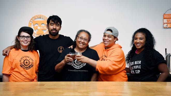 The team at Black Star Line Brewing Company. From left, Kay Mague, Javier Naranjo, Tina Marshall, L.A. McCrae and Tamara Lee.