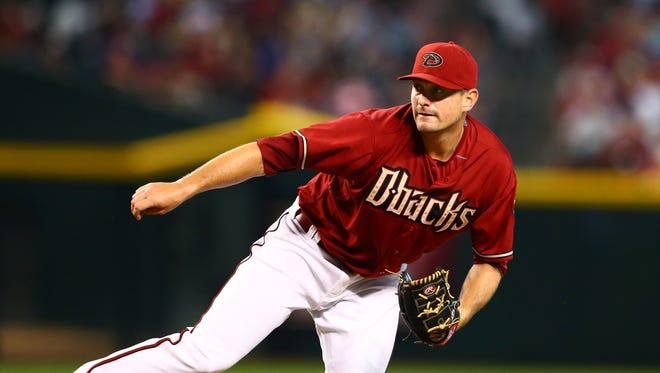 Jul 19, 2015: Arizona Diamondbacks pitcher Daniel Hudson against the San Francisco Giants at Chase Field.