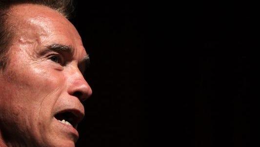 Former California governor Arnold Schwarzenegger talks in August 31, 2010 in San Francisco, California.