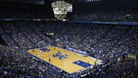 An overhead view of Rupp Arena, home of the Kentucky Wildcats.