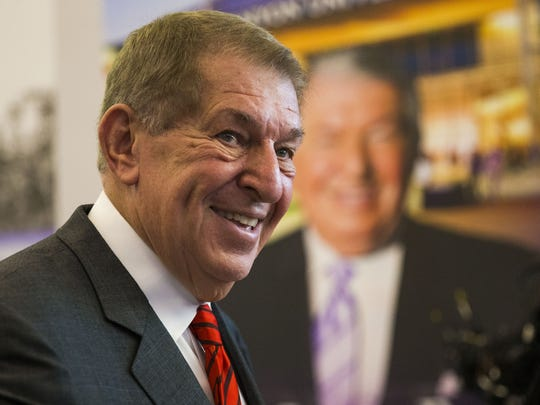 Jerry Colangelo greets guests during a reception for the new Jerry Colangelo Museum at Grand Canyon University in Phoenix, Ariz., on Sept. 20, 2017.